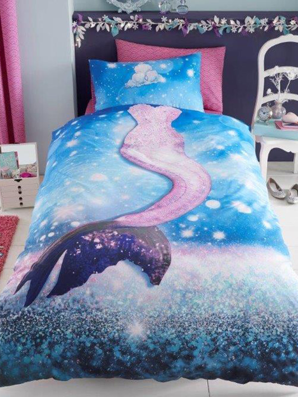 Mermaid Wave Single Duvet Cover and Pillowcase Set