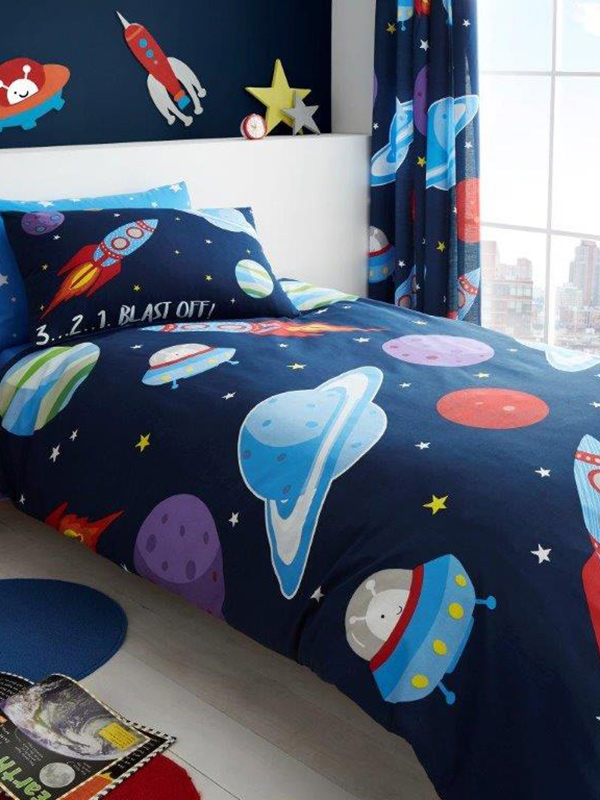 Outer Space Single Duvet Cover and Pillowcase Set