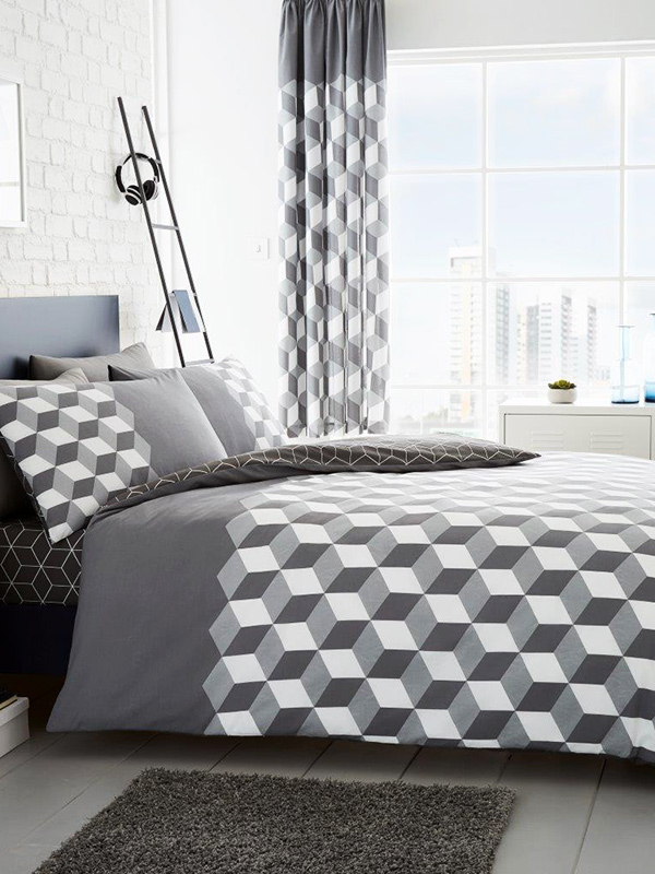 Cubix Geometric King Size Duvet Cover and Pillowcase Set - Grey
