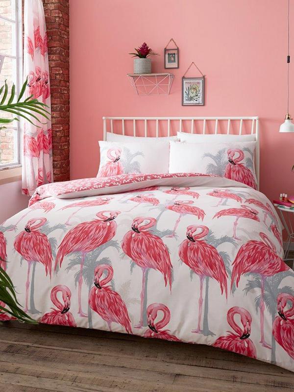 Flamingos and Palm Trees Single Duvet Cover Set