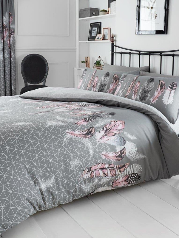Geometric Feathers Double Duvet Cover and Pillowcase Set - Grey