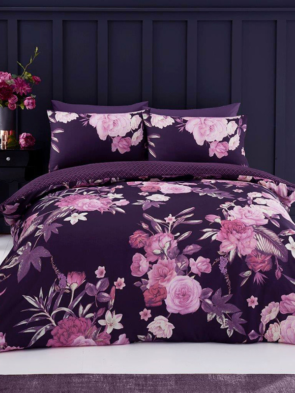 Flora Double Duvet Cover and Pillowcase Set - Purple