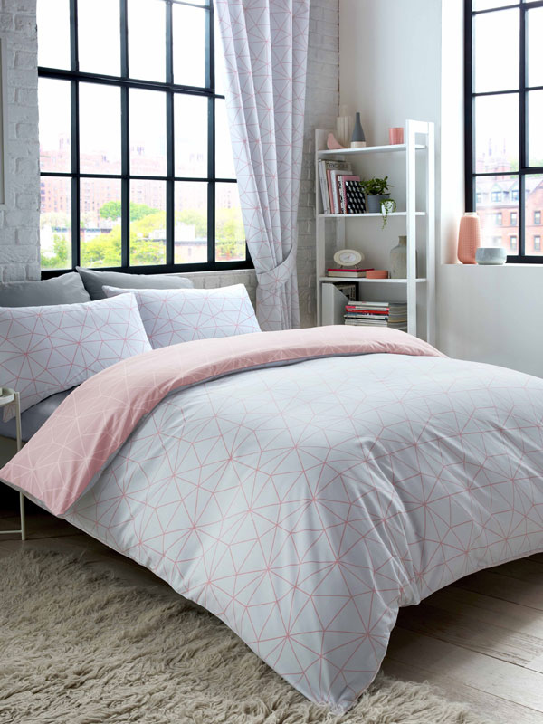 Metro Prism Triangle Single Duvet Cover Set - Blush / Grey