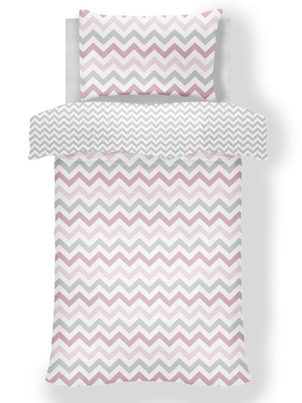 Metro Chevron Zig Zag Grey / Pink 4 in 1 Junior Bedding Bundle Set