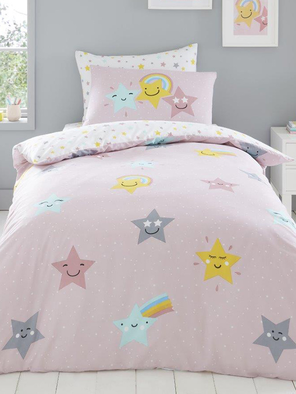 Hello Star Double Pink Duvet Cover and Pillowcase Set