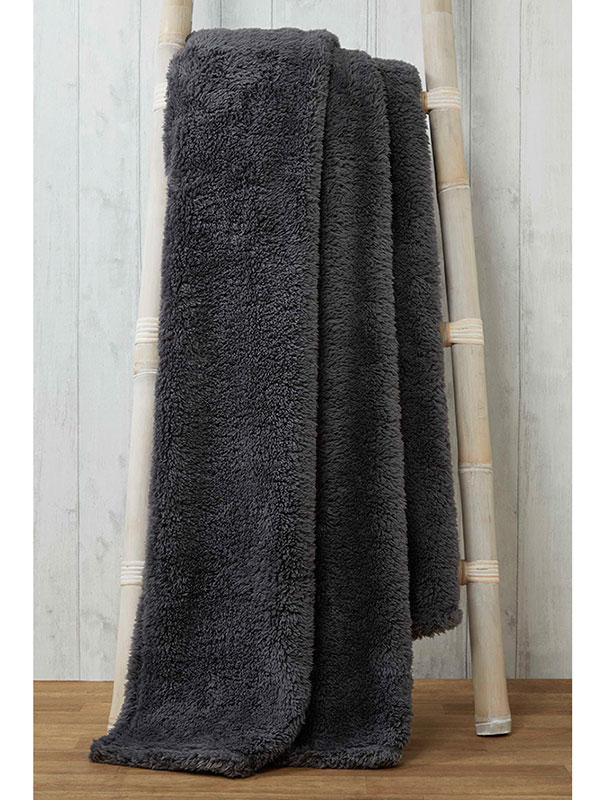 Snuggle Bedding Teddy Fleece Blanket Throw 200cm x 240cm - Charcoal