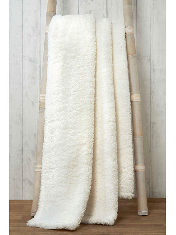 Snuggle Bedding Teddy Fleece Blanket Throw 200cm x 240cm - Natural