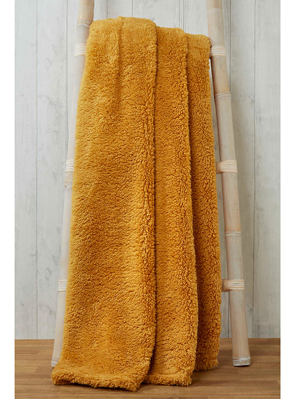 Snuggle Bedding Teddy Fleece Blanket Throw 150cm x 200cm - Ochre