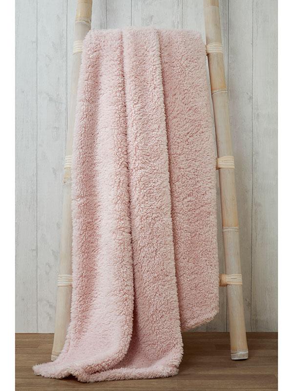 Snuggle Bedding Teddy Fleece Blanket Throw 130cm x 180cm - Pink