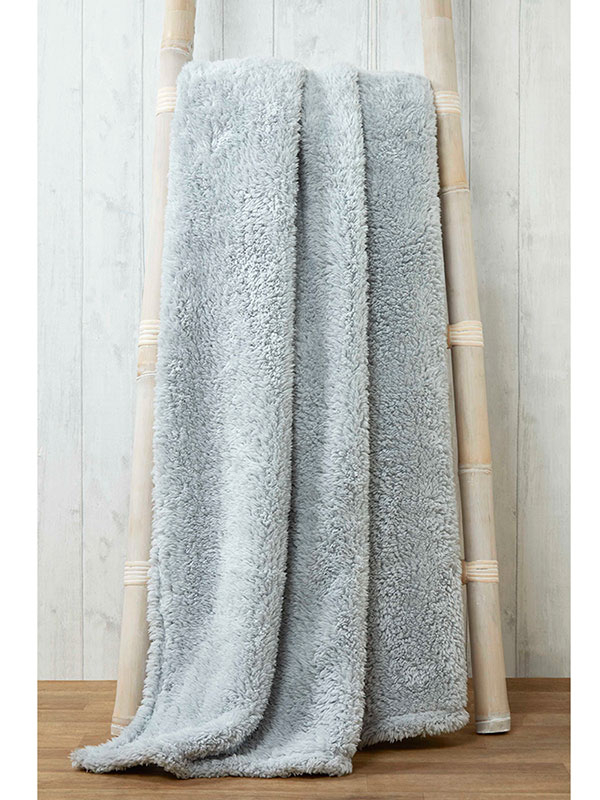 Snuggle Bedding Teddy Fleece Blanket Throw 200cm x 240cm - Silver