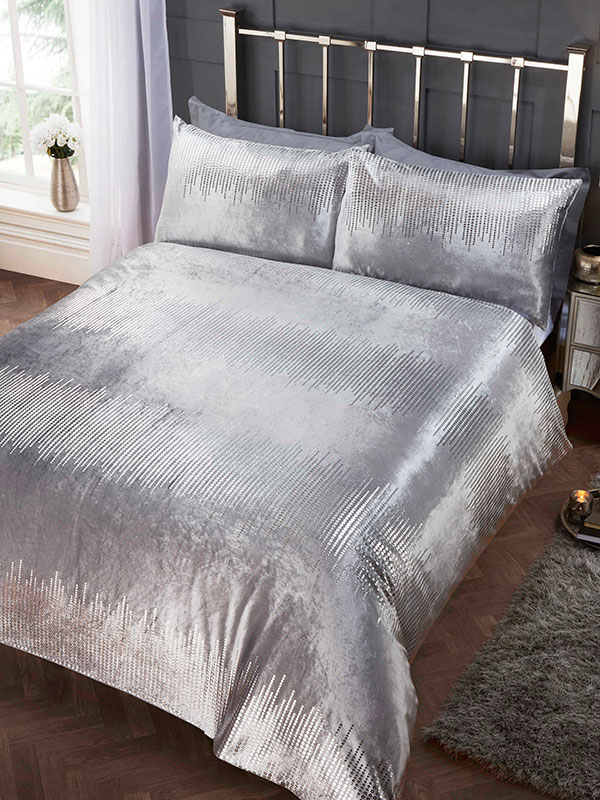 Tiffany Silver Super King Duvet Cover and Pillowcase Set