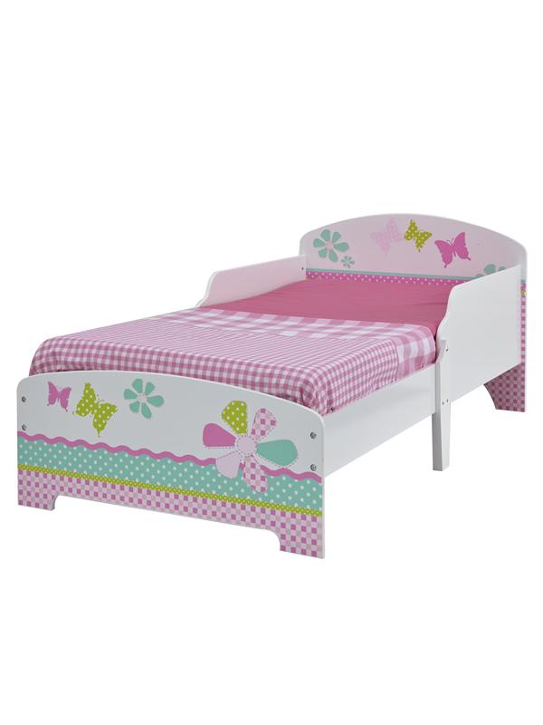Girls Pretty n Pink Patchwork Toddler Bed plus Fully Sprung Mattress