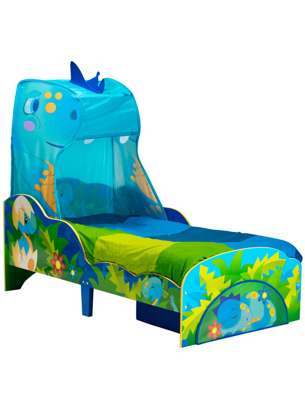 Dinosaur Toddler Bed with Fibre Mattress, Storage and Canopy
