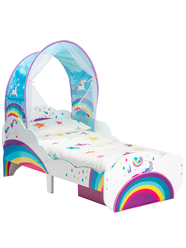 Unicorn Rainbow Toddler Bed with Fibre Mattress, Storage and Canopy