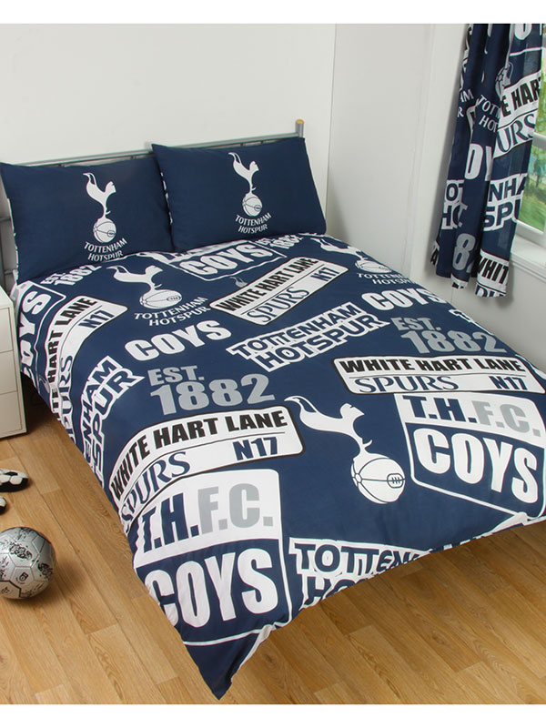 tottenham fc patch double duvet cover and pillowcase set