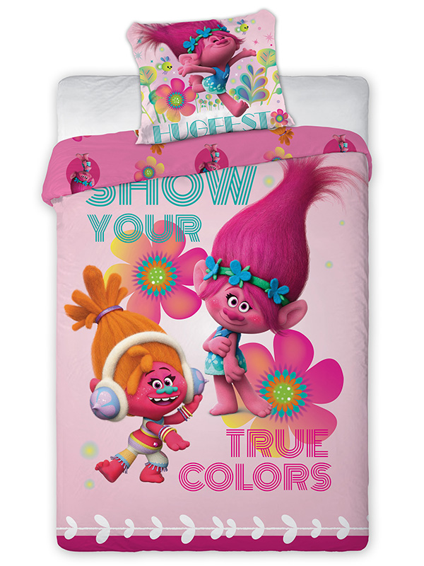Trolls Duo Single Cotton Duvet Cover and Pillowcase Set