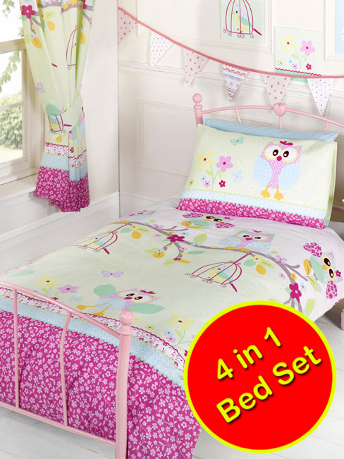 twit twoo owls junior bedding bundle (duvet and pillow and covers)