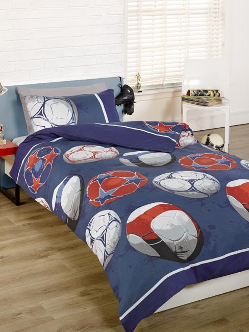 Football Double Duvet Cover and Pillowcase Set - Blue