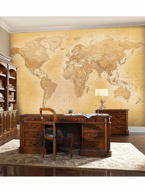 Vintage World Map Wall Mural 232m x 315m
