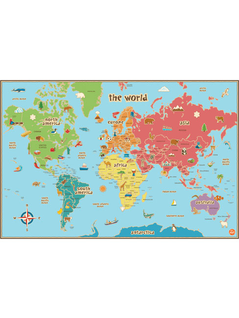 Wallpops Kids Laminated World Map with Dry Erase Pen