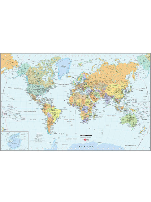 Wallpops Self Adhesive Laminated World Map with Dry Erase Pen