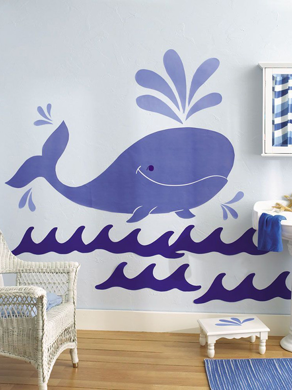 Price Right Home Wallies Big Murals - Whimsical Whale Wall Stickers