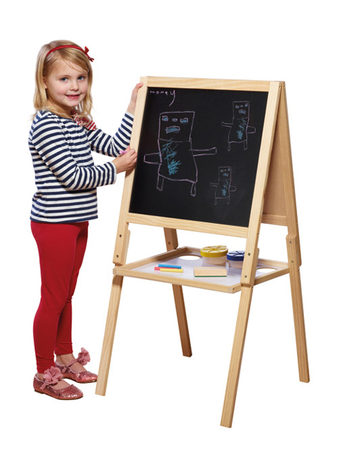 Wooden Easel Double Sided Black White Board with Accessories