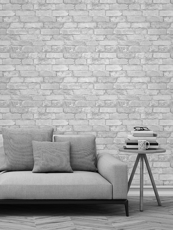 White and Silver Rustic Brick Effect Wallpaper Windsor Wallcoverings