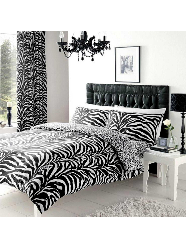 Price Right Home Zebra and Leopard Print King Size Reversible Duvet Cover Set